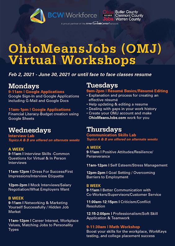 Virtual workshops list